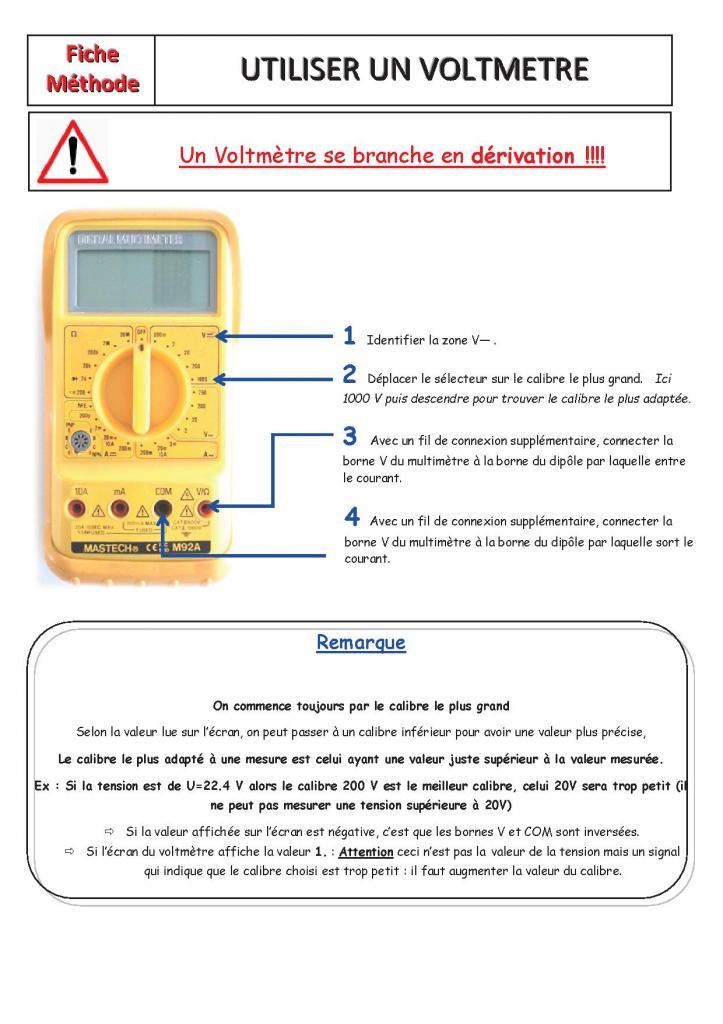 utiliser un voltmetre
